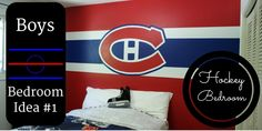 A ton of hockey wall murals are featured in this blog post ~ perfect boys bedroom ideas (or even a playroom or man cave) ~ with a special focus on the Montreal Canadiens.