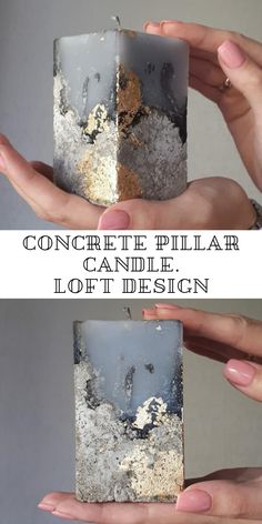 Gray with Gold leaf. Loft design - great gift for man Handmade Gifts For Men, Great Gifts For Men, Handmade Christmas Gifts, Unique Candles, Diy Candles, Pillar Candles, Carved Candles, Beautiful Candles, Loft Design