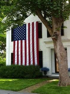 New England home displaying the 'stars and stripes'. I Love America, God Bless America, A Lovely Journey, Independance Day, Sea To Shining Sea, Home Of The Brave, Let Freedom Ring, Land Of The Free, Old Glory