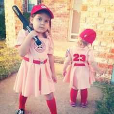My little Rockford Peaches, Dottie & Kit! Future Halloween costumes have a mountain to climb to top these beauties that we handmade ♡♡♡ Kynlee and Peyton loved playing the part!