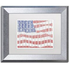 Trademark Fine Art 'America?s Pastime' Canvas Art by Viz Art Ink, White Matte, Silver Frame, Size: 11 x 14, Assorted