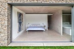 Concrete floor flows outside