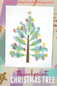 Thumbprint Christmas Tree - Kid Craft Idea w/free printable template