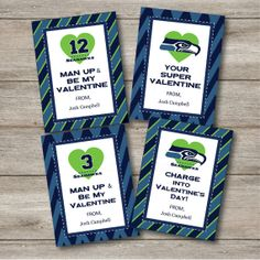 personalized seattle seahawks valentines kids by punkyprep on etsy 395