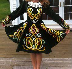 Vintage-Irish-Dance-Solo-Dress-in-Beautiful-Green-Velvet