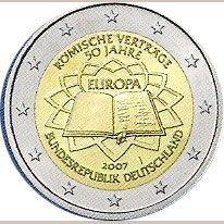 moneda Alemania 2 euros 2007 Tratado de Roma (5 cecas), Tienda Numismatica y Filatelia Lopez, compra venta de monedas oro y plata, sellos españa, accesorios Leuchtturm