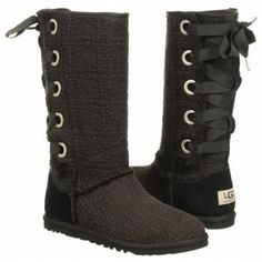 Amazon.com: UGG® Australia Heirloom Lace Up Black 8 Womens Boots: Shoes