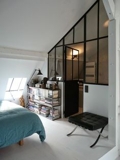 Great idea for the bedroom and bathroom, window wall