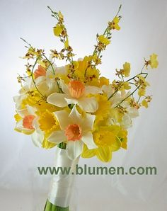 Bride's bouquet of yellow and white daffodils, yellow oncidium orchids and white freesia; www.blumen.com