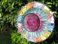 Glass Plate Art Decor for the Garden. $45.00, via Etsy.