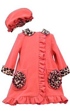 Baby Girls 12M-24M Coral Leopard Trim Ruffle Pocket Fleece Coat/Hat Set, Coral, Bonnie Baby