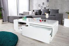 Table basse design Taylor blanc/blanc laqué  120x60