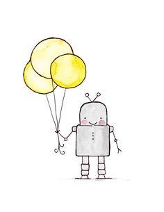 Hello Robot 8x10 archival print, Baby nursery print, childrens art print, kids room decor, kids wall art, child decor, baby art. $20.00, via Etsy. wall art, 8x10 archiv, kids rooms decor, kids wall, art prints, kid rooms, nurseri, babies nursery, robot