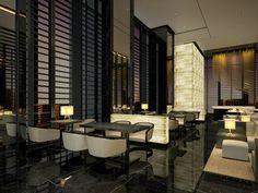 Hotel lounge black stone and illuminated alibaster