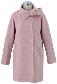 Wool-Felt Tweed Coat with Bowknot in Pink