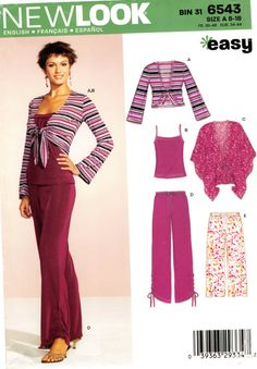 Size 8 10 12 14 16 18 Bust 34 36 38 New Look 6543 Easy; Misses& Coordinates Sewing Pattern by AffordablePatterns Easy A, Knitting Patterns, Sewing Patterns, New Look Tops, New Look Patterns, Knit Pants, 18th, Tank Tops, Lady