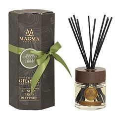 Magma London - Luxury Reed Essential Oil Scented Diffuser - 100 ml Deluxe Box Gift Set - Amber and Musk Mirage