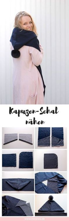 DIY idea: sew a hooded scarf with pompom - Miss Rosi- DIY Idee: Kapuzen-Schal nähen mit Bommel – Miss Rosi DIY idea: sew hoodie with bobble – Miss Rosi – pattern and design - Baby Knitting Patterns, Crochet Patterns, Blanket Patterns, Easy Knitting Projects, Knitting For Beginners, Sewing Projects, Knitting Ideas, Sewing Tips, Sewing Hacks