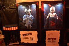 Made freakshow oddities for Carnevil. I spray painted the boxes that the Costco skeletons came in, found Goodwill babies to tweak and used tap lights on inside.