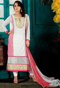 A White & Pink Color Pure Georgette straight cuit suit embellished with a zari and resham broidered yoke
