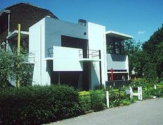 Gerrit Reitveld - Schroeder House- 1926. Exterior view. The extraordinary house that Rietveld built for his client and eventual partner, Truus Schröder, is often described as the first truly modern building. Rietveld had trained as a furniture maker and by 1908 was already experimenting with modern forms—straight lines, geometric shapes.