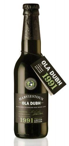 Cerveja Ola Dubh 1991 Vintage Limited Edition, estilo Wood Aged Beer, produzida por Harviestoun Brewery, Escócia. 10.5% ABV de álcool.