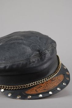 Vintage Harley Davidson Studded, Chained & Patched Leather Hat- One More Chance Vintage Studded Combat Boots, Studded Leather Jacket, Studded Jeans, Leather Hats, Vintage Leather Jacket, Leather Tooling, Black Leather, Tooled Leather, Biker Chick Outfit