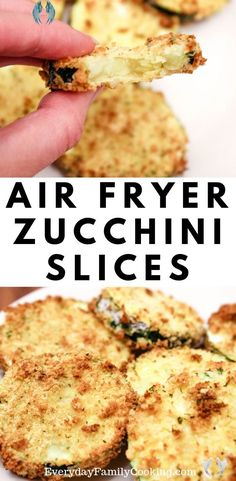Air Fryer Zucchini Chips with No Oil   Easy Summer Vegetarian Recipe Easy Air Fryer Garden Zucchini Coins. Zucchini is sliced up and coated in breadcrumbs. It's the perfect way to use up your summer zucchini squash from the garden and get your vegetables in. #summersquash #gardenveggies #airfryer<br> Freshly cut zucchini coated with light and airy panko breadcrumbs cooked in an air fryer to perfection. Vegan Zucchini Recipes, Zucchini Chips Recipe, Summer Vegetarian Recipes, Summer Squash Recipes, Healthy Zucchini, Easy Squash Recipes, Healthy Foods, Zucchini Tots, Healthy Breakfasts