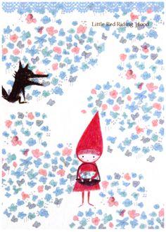 Shinzi Katoh Red Riding Hood Postcard http://shop.kawaiidepot.com