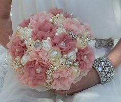 Pink fabric flower and pearl brooch bouquet