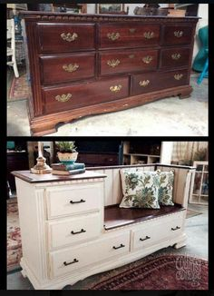 Refurbished dresser into seating area and storage