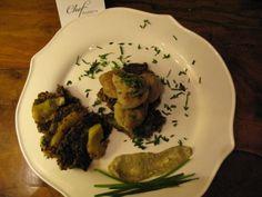 Knodel allo speck con rosti di patate e zucchine