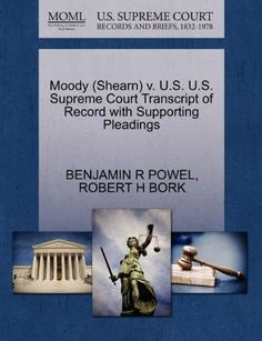 Moody (Shearn) V. U.S. U.S. Supreme Court Transcript of Record with Supporting Pleadings