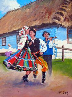 Polish dance by on DeviantArt Folk Dance, Dance Art, Poland Cities, Polish Folk Art, My Heritage, World Cultures, Dance Costumes, Character Design, Illustration Art