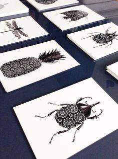 4 cartes postales graphiques, noir et blanc, ananas, papillon, portrait cerf, format 10x15, cartes postales design : Cartes par digitalartparis
