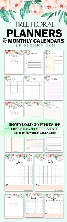 Print this beautiful free printable 2018 planner and 2018 monthly calendar in pretty florals! #planner #freeplanner #plannerprintables #2018planner #freebie #planner2018