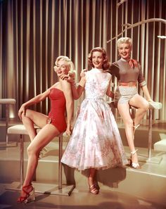 "Marilyn Monroe, Lauren Bacall, Betty Grable in ""How To Marry A Millionaire"", 1953."