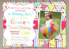 Girls 2nd Birthday Rainbow Invitation / Girls Rainbow Pink Second Birthday Invites / Printable Invitation / colorful Girls Birthday (147)