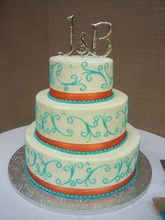 Orange and Turquoise Wedding Decorations | Creative Cakes By Angela: Turquoise and Orange Wedding Cake
