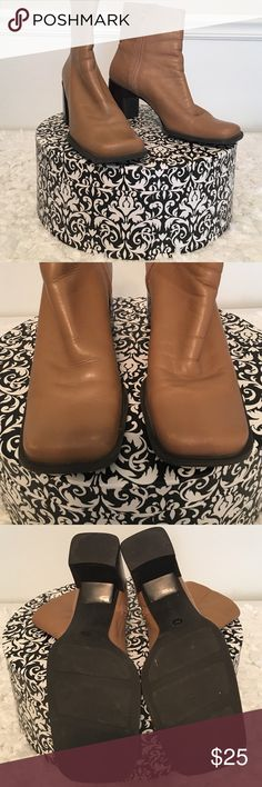 Nine West boots Nine West ankle boots are camel color. Have been pre- loved. They have a minor marks on the toes as shown in the pictures. Heels height is 3 inches. Still is great condition. Nine West Shoes Ankle Boots & Booties