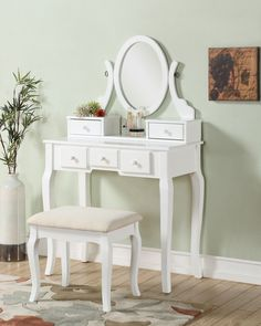 Roundhill Furniture Ashley Wood Makeup Vanity Set with Mirror   Wayfair