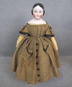 c1850 Pink Tint China Head Doll Brown Eyes Original Costume