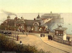 An poster sized print, approx mm) (other products available) - The pier, Southend-on-Sea, England. 1890 and ca. Date: - Image supplied by Mary Evans Prints Online - poster sized print mm) made in the UK Old Pictures, Old Photos, Vintage Pictures, Essex England, Leigh On Sea, Seaside Resort, Southport, Local History, Britain