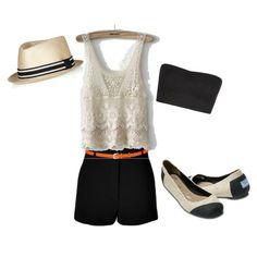 TOMS, White knit top, Black shorts, eye popping belt, hat