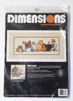 Dimensions Counted Cross Stitch Nine Lives 3762 Cats Bryan Moon 1994 Vtg Sealed #Dimensions #BryanMoon #NineLives