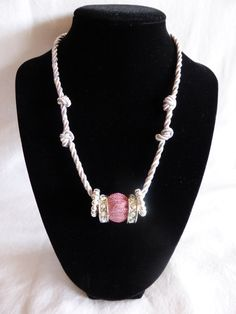 Pink and Silver Beaded & Knotted Cord Rope Necklace by AisthasKiss, $32.99