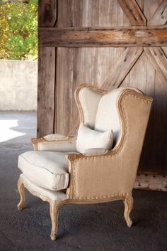 Shabby Chic Burlap & Linen Wingback Chair (Home Decor). Shipping is included in price. All sales final on furniture. Not Returnable. Chair Redo, Chair Makeover, Furniture Makeover, Furniture Refinishing, Furniture Removal, Refurbished Furniture, Furniture Storage, Repurposed Furniture, Diy Furniture