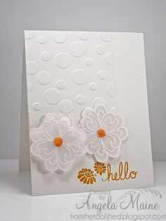 from the tool shed: CAS Vellum flowers - hello by Angela Maine