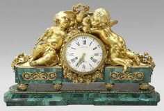 196: French malachite and dore bronze mantle clock : Lot 196