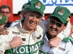 NASCAR driver Rusty Wallace of St., left, hugs his crew chief Barry Dodson Kart Racing, Racing Team, Rusty Wallace, Mike Wallace, Nascar Race Cars, Richard Petty, St Louis Mo, Dale Earnhardt, World Of Sports